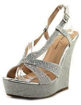 Lauren Lorraine Nika Women Open Toe Synthetic Silver Wedge Heel.