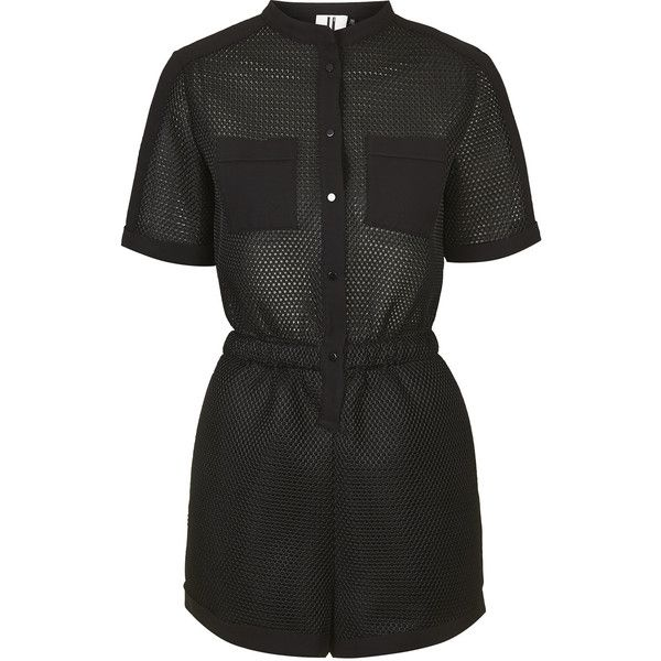 **Contrast Mesh Playsuit by Unique (475 PEN) ❤ liked on Polyvore featuring jumpsuits, rompers, playsuit, dresses, romper, shorts, jumper, black, playsuit romper and black rompers