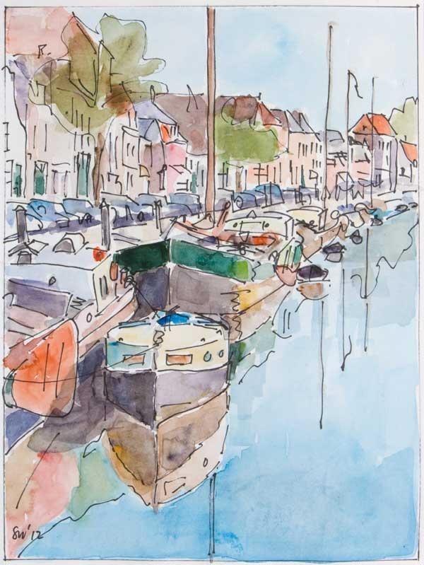 Thorbeckegracht Zwolle - Aquarel - Saskia Wevers http://www.kunstuitleenzwolle.nl/SaskiaWevers