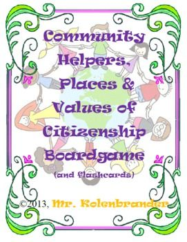 Why not put a character education spin on your social studies community unit with this great set of resources, which includes 32 flashcards on values of citizenship and neighborly behavior, a 20-page printable/projectable book featuring the same logos and values, a student fill-in and partial fill-in good citizens book, and to top it all off, a board game including card sets to review the good citizens and neighbors values, plus categories reviewing community helpers and places!