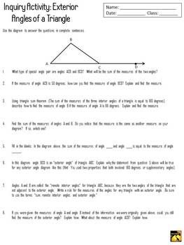 all worksheets interior and exterior angles of triangles