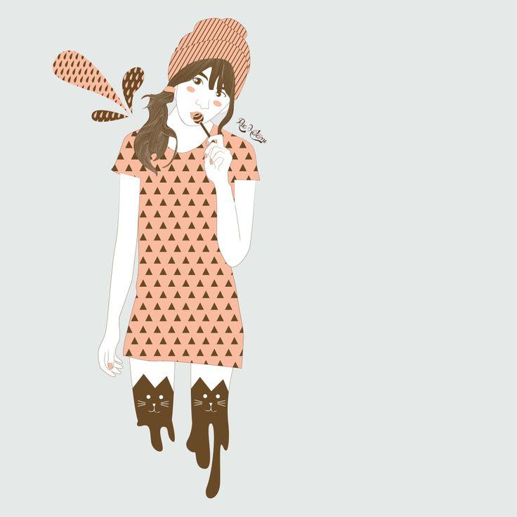 #girl #candy #lollipop #illustration #cute
