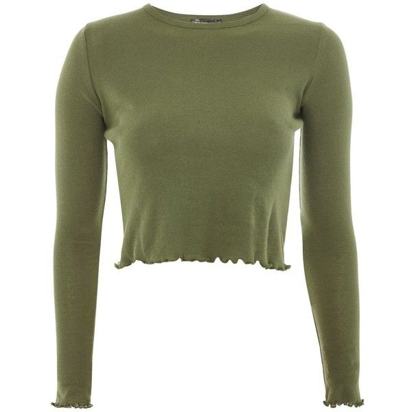 TopShop Petite Lettuce Crop Top ($20) ❤ liked on Polyvore featuring tops, shirts, khaki, topshop tops, green top, crop tops, khaki crop top and short sleeve tops