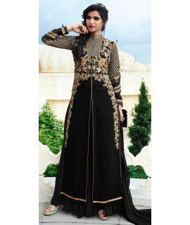 Dazzling Black Georgette Designer Salwar Suit.