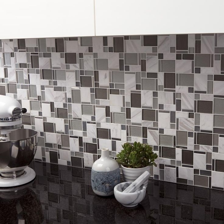 kitchen backsplash featuring Modern Silver Glass and White Stone Mosaic Tile from Mineral Tiles and white kitchen Aid Mixer