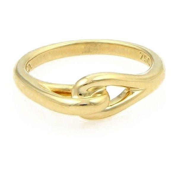 Pre Owned Tiffany Co 18K Yellow Gold Interlock Design Ring 450 Like