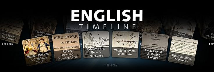 English Timeline  This interactive timeline allows you to explore the evolution of English language and literature, from the 11th century to the present day. Scroll through decade by decade to investigate the richness and diversity of our poetry and prose, as well as the many social, cultural and political strands from which our language has been woven.