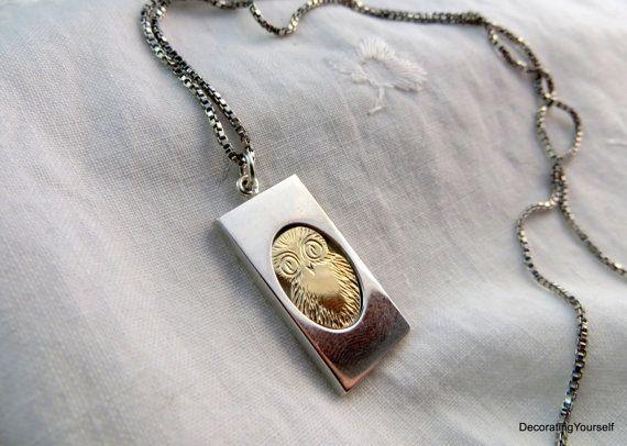 Finland Kupittaan Kulta Sterling Silver Necklace Owl Pendant Designer Signed