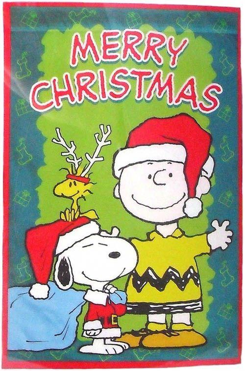 Merry Christmas - Snoopy Dressed as Santa, Charlie Brown Wearing Santa Hat and Woodstock Wearing Reindeer Antlers