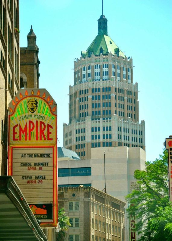 Empire Theatre Sign with Tower Life Building in by CammanDesigns, $8.00.  Tags: Art. Antique SignsSan AntonioIn ...
