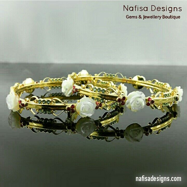 Custom designed rose pearls and ruby bangles in 21 kt gold by Nafisa Designs. View more images and its story on www.nafisadesigns.com