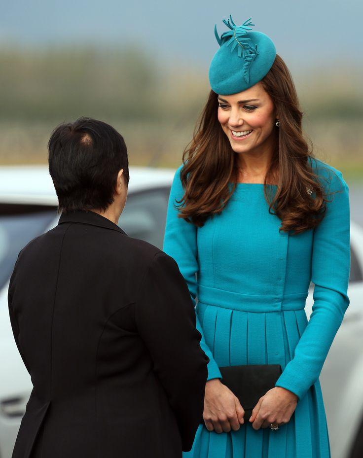 Kate Middleton in Emilia Wickstead in Dunedin, New Zealand. April, 2014.