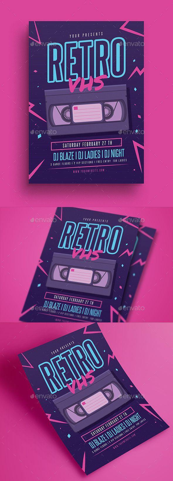 Retro VHS Music Flyer — Photoshop PSD #90's #vector • Download ➝ graphicri…
