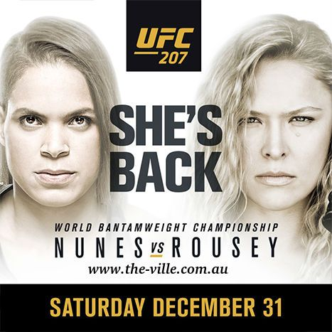 Ronda Rousey makes her return to the Octagon when she attempts to regain the UFC women's bantamweight crown from champion Amanda Nunes. Watch live on 31 December 1 pm onwards. For more details visit http://www.the-ville.com.au/play-offers/ufc-live-nunes-vs-rousey/