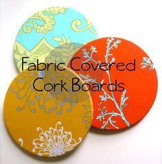 Fabric Covered Cork Board - Use glue gun
