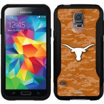 University of Texas Emblem on Camo design on a Black OtterBox Commuter Series Case for Samsung Galaxy S5 //  Description This Otterbox Commuter Series case is compatible with the Samsung Galaxy S5. This design is officially licensed artwork from Universit