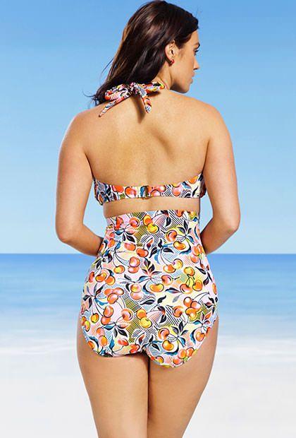 Swim Sexy Cherry Plus Size High Waist Bandeau/Halter Bikini