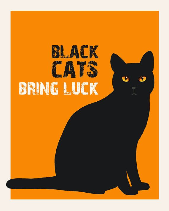 8X10 inch. Black cats bring luck by Gayana on Etsy, $15.00