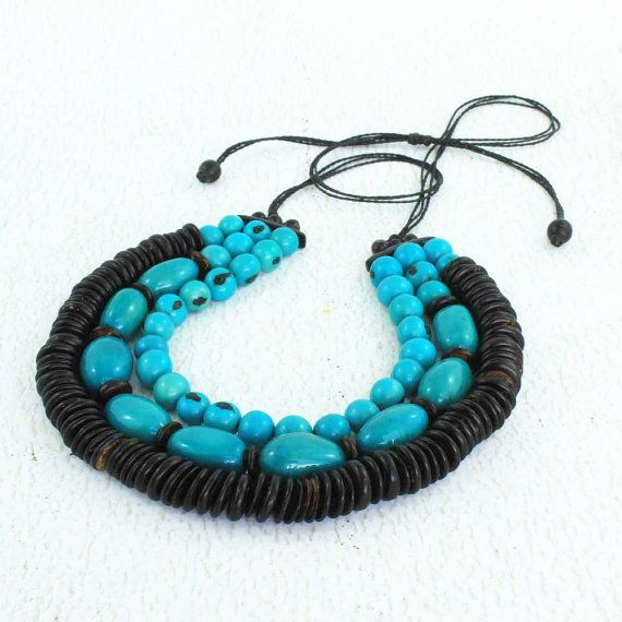 Blue Bead Necklace  Fair Trade Jewelry  Chunky Turquoise