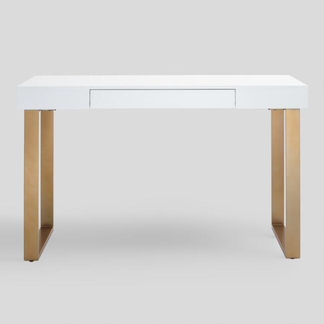 White And Gold Lynn Desk White Desk Gold White Desk Gold Legs Desk