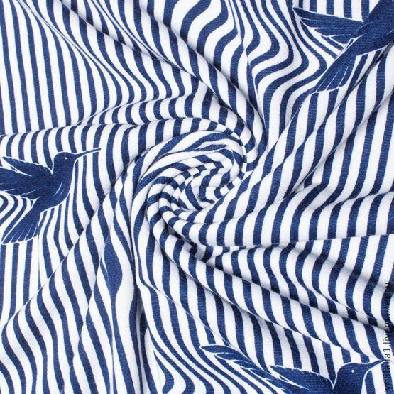 Купить Трикотаж вискозный в полоску темно-синий Marina Yahting - трикотаж, трикотажное полотно