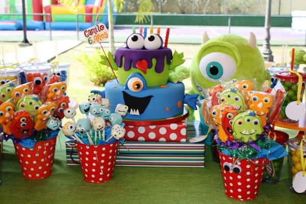Monster Themed Birthday Party Red Blue Green Yellow Kids Boys Girls