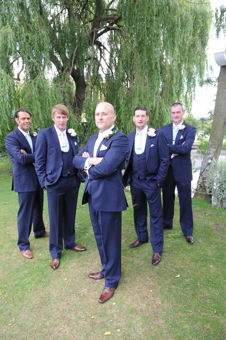 Mr dendle 2013 very dapper in our navy wedding lounge suits with scoop neck waistcoats.  #groom #tails #suit #wedding #navy