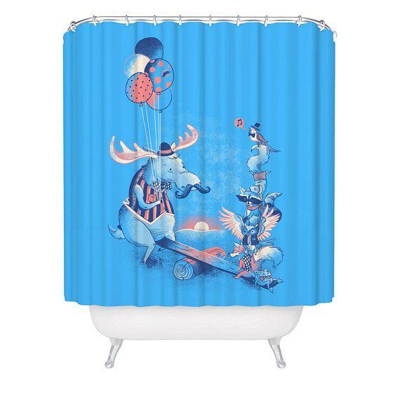 Whimsical Shower Curtain Kids Moose Fox Party Bathroom Curtain