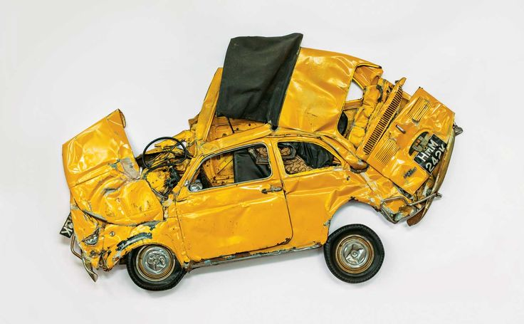 Ron Arad's Yellow Flattened Fiat Car Sculpture