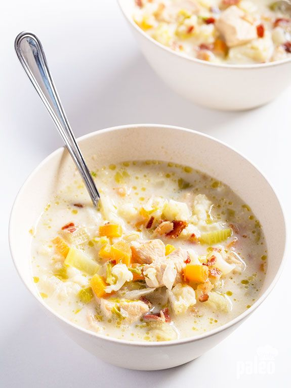 This simple, hearty cauliflower and chicken chowder is perfect for a no-hassle meal! It is wholesome, tasty and really easy to make in a slow cooker. (Paleo Soup Cauliflower)