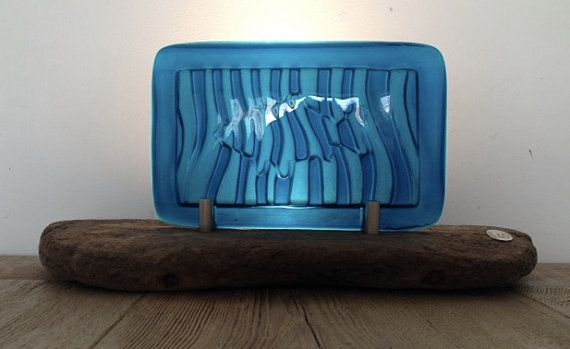 Table lamp in blue fused glass and Camber by AndyBullGlassArt