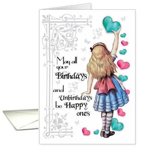 Alice In Wonderland Alice Birthday Greeting Card Alice Etsy Birthday Greetings Birthday Greeting Cards Alice In Wonderland