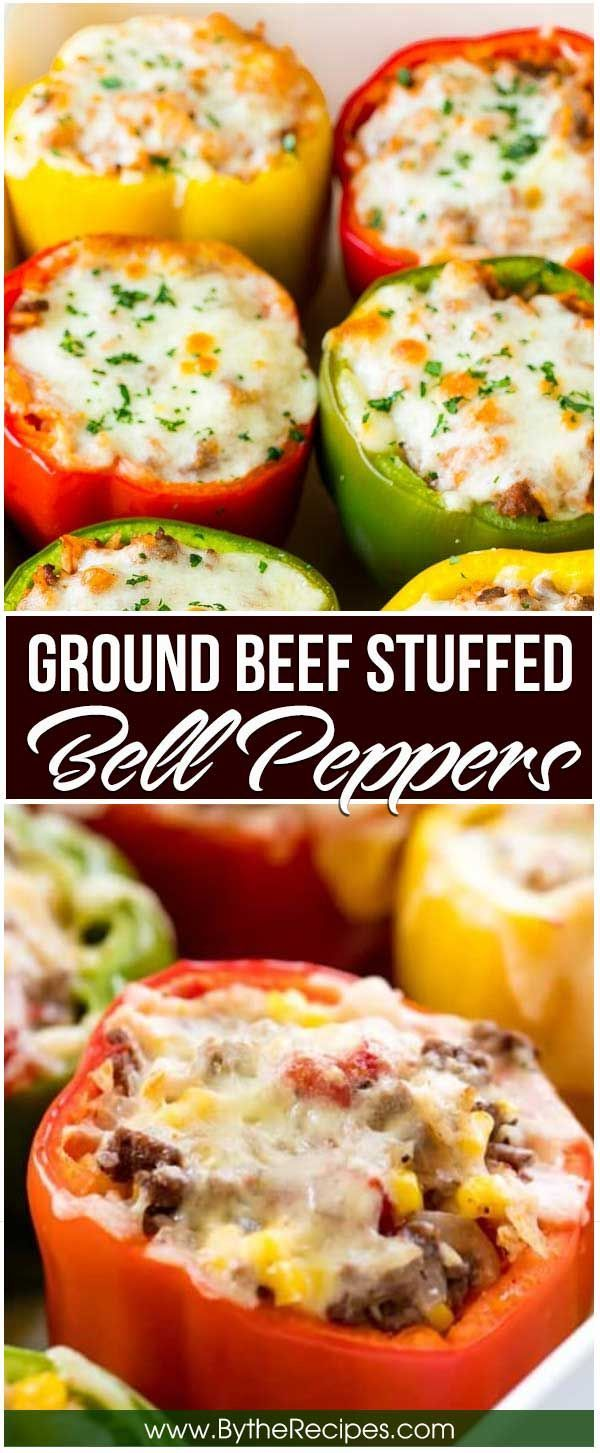 Ground Beef Stuffed Bell Peppers Barbara Groundbr In 2020 Stuffed Peppers Beef Dinner Peppers Recipes