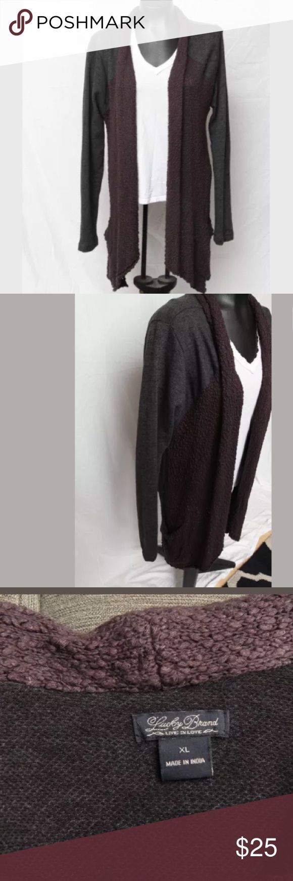 Lucky Brand Gray Draped Waterfall Cardigan XL Cute and Comfy Lucky Brand Denim Cardigan  Woven knit-like cardigan with a soft cotton back Deep charcoal gray color Size XL Lucky Brand Sweaters Cardigans