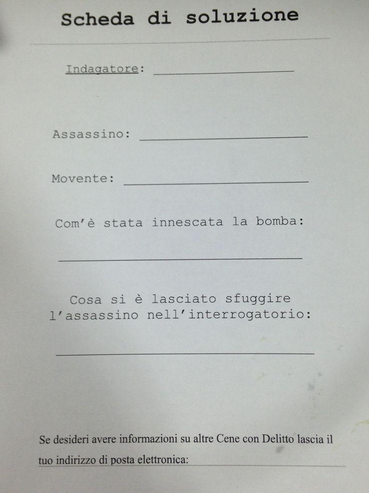 La Scheda da Compilare con il Nome dell'Assassino ... Solamente in 2 sono riusciti a scoprire chi aveva ucciso il pittore Patrizio Torenzi ;) #hotelrimini #liverpoolriminipasqua #cenacondelitto #liverpoolriminipasqua2015 #vacanzerimini