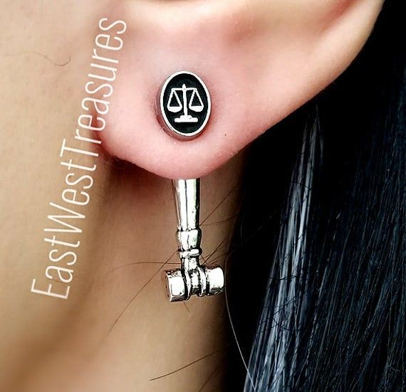 Scales Of Justice Earrings, Law school Graduation Jewelry gift for New Female Lawyer Attorney Parale