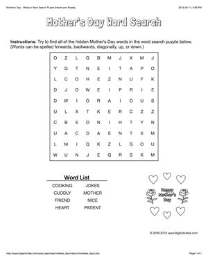 Mother's Day word search puzzle with hearts and roses. 4 levels of difficulty. Word search changes each time you visit