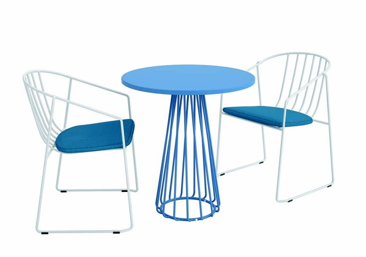 Interlace Arm Chairs And Dining Table In Cozy Blue New Designs