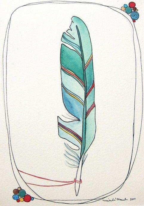 feather illustration. boa idéia para tatuagem colorida;