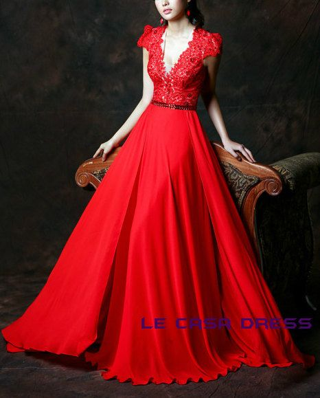 Evening Dress in hand made/ Red Occasion Dress by LeCasaDress
