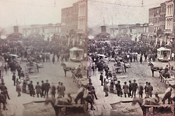 This photo out of the starnewsonline newspaper that was taken 137 years ago, shows how HDRPhotos from www.humansoftware.net can really reveal details (right side), especially the main subject of this photo : a tightrope walker over Market street in Wilmington NC (check top of the picture) #photoshop #oldphoto #restorephoto