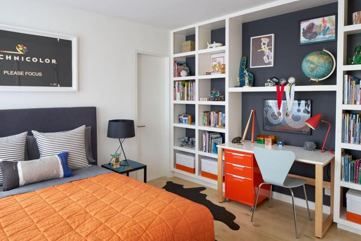 TEEN ROOMS..Nestled in the middle of built-in bookshelves, a desk with a…