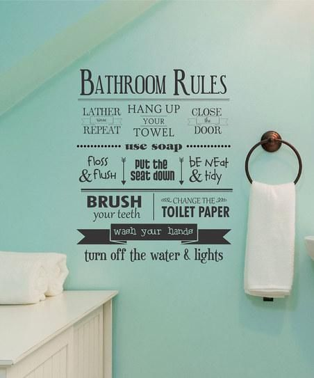 'Bathroom Rules' Wall Quote Decal