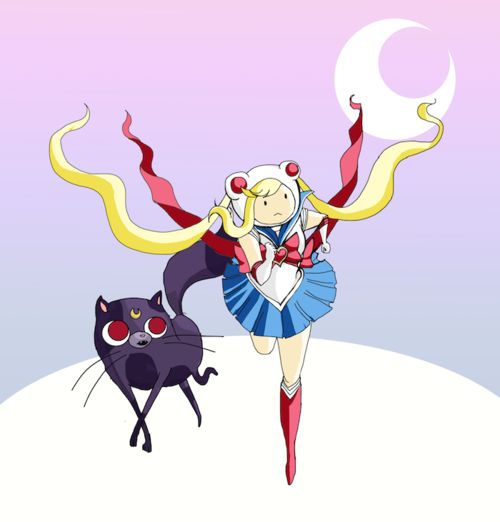 Sailor Moon Adventure Time! With Fiona and Cake! 8D