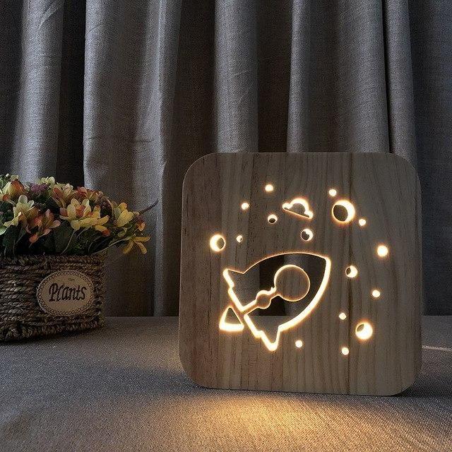 Space Rocket 3d Wooden Nightlight Wooden Lamp Wooden Bedside Lamps Room Lamp