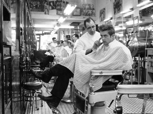 James Dean getting a haircut in Fairmount  Indiana 1955 www.madmodpop.blogspot.com