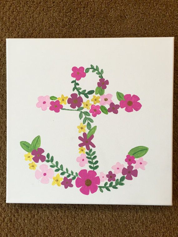 Flower Anchor Canvas Painting // Beach House Decor // Nautical