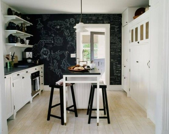 farmhouse makeover: kitchen with chalkboard wall