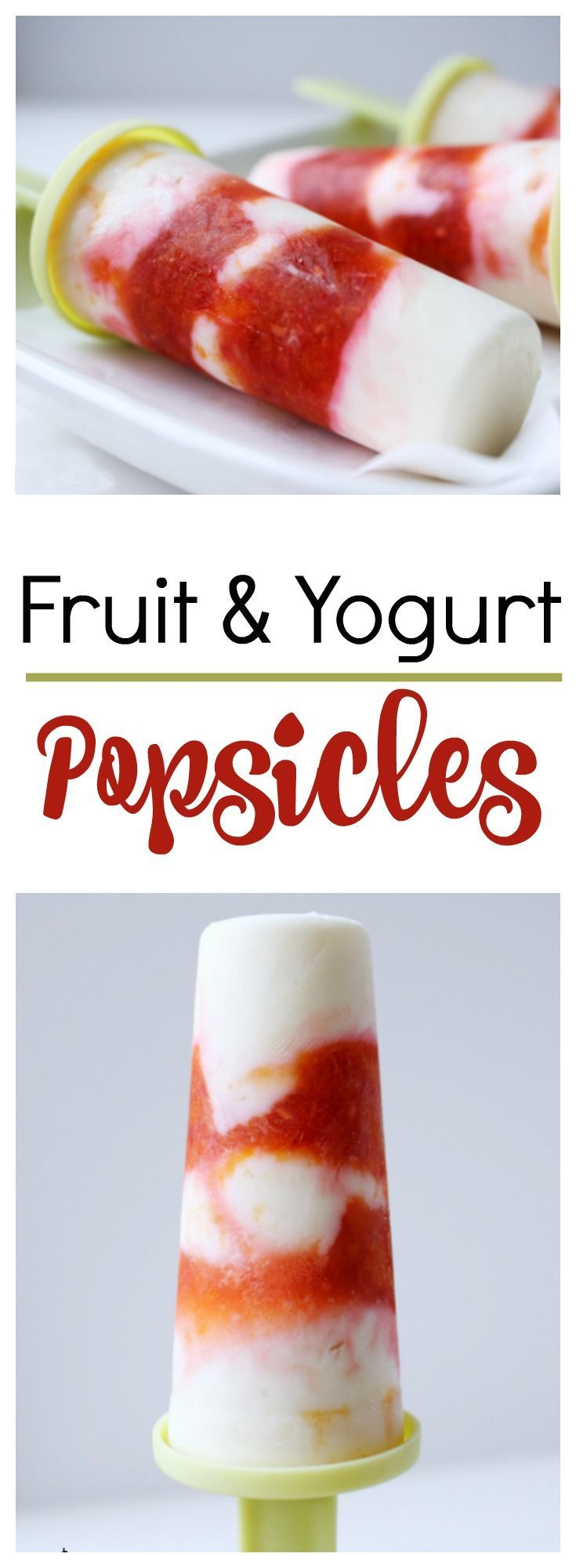 These Fruit and Yogurt Pops are the perfect summertime treat! Mix plain or vanilla yogurt with your favorite fruit to make these easy and refreshing fruit and yogurt popsicles. via @gracegoodeats