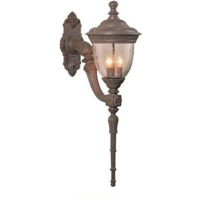 """Tuscany TC3700 Series 41.5"""" Wall Lantern Finish: Old Iron by Melissa Lighting. $829.99. TC379114-OB Finish: Old Iron Features: -Wall lantern.-Seedy glass panel.-Electronic ballast EBPL: 13-26-32-42 (four pin).-UL Listed. Options: -Available in Black, White, Old Iron, Architectural Bronze, Rusty Nail, Old Bronze, Old World, Aged Silver, Patina Bronze and Old Copper finishes. Construction: -Cast aluminum construction. Specifications: -Accommodates(4) 60W Candelabra bulbs...."""